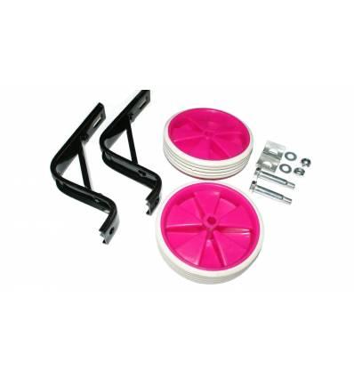 Kółka rowerowe boczne podporowe różowe 16''