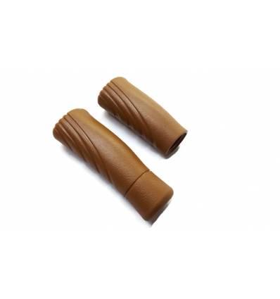 Chwyty kierownicy PVC brązowe 120/90 mm komplet